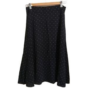 3/30$ LOFT Retro Style Flowy Black & White Dots A-Line Midi Skirt Size 0